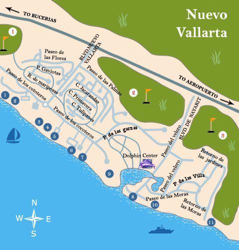 Puerto vallarta map nuevo vallarta color large